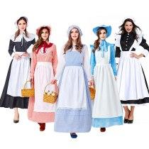 Adult Colonial Pioneer Girl Costume Women Village Farm Prairie Maiden Maid Costumes Halloween Party Fancy Dress