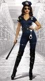Women's Police Woman Costume Sexy Cop Officer Jumpsuit Fancy Dress