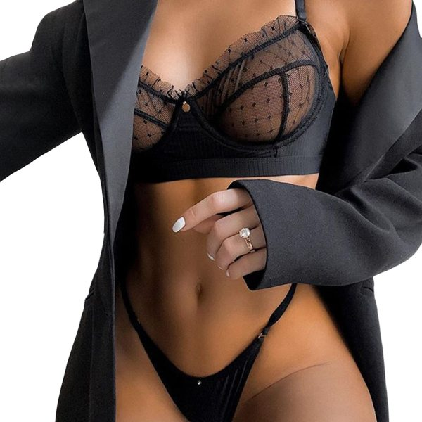 ecowalson Women Sexy Nightwear See-Through Lingerie Floral Mesh V-Neck Sling Bra Elastic Briefs Sissy Black Underwear sets