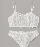 ecowalson New Ladies Bra set Polka Dot Mesh Sexy Lingerie Comfortable Thin Bra and Panty set Ruffles Transparent Women's Underwear