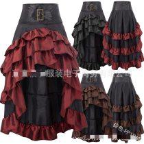 S-5XL Victorian Asymmetrical Ruffled Satin & Lace Trim Gothic Skirts Women Corset skirt Vintage Steampunk Skirt Cosplay Costumes