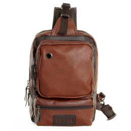 Mens Leather One Shoulder Sling Backpack