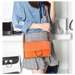 Ladies Genuine Leather Crossbody Handbag with Chain