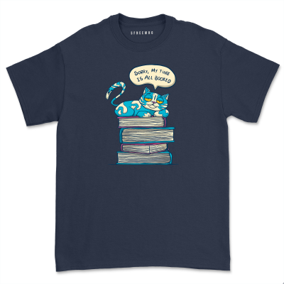 My Time Is All Booked Shirt Women Teacher Book Lover Tee Cat With Books Librarian Reading Gift Short Sleeve Tops