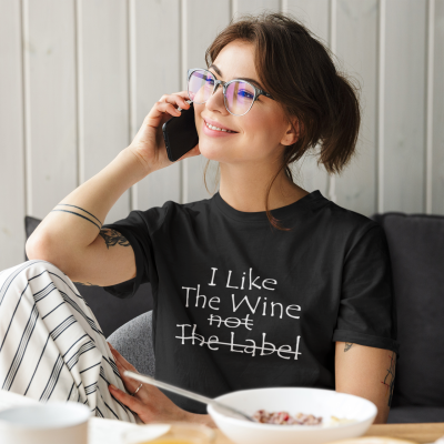 I Like Into The Wine Not The Label Shirt for Wine Lover Casual Plus Size Short Sleeve Tee Tops