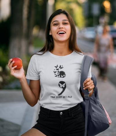 Your story isn't Over Screen Shirt Casual Butterflies Semicolon T-Shirt Keep Going Self Love Short Sleeve Tee Tops