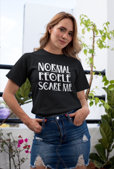 Normal People Scare Me Shirt Funny Horror Story Halloween T-Shirt Trendy Summer Short Sleeve Tee Tops