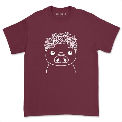 Casual Floral Crown Pig shirt Cute Farm Piggy T-shirt Pig Lover Gift Minimalist Flower Pig Mom life Short Sleeve Tops Tee