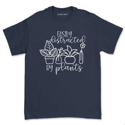 Easily Distracted By Plants Shirt Women Plant Lady Garden Mom Gift Casual Gardening Lover Tops Tee