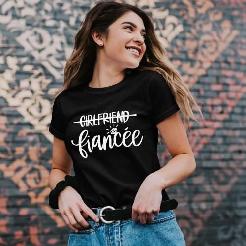 Fiancee Shirt Couples Engagement Girlfriend Bachelorette Tee