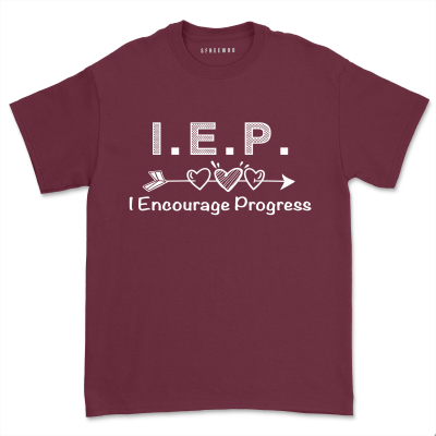 IEP I Encourage Progress Inspirational Shirt Women Casual Short Sleeve Special Education SPED Tee Tops