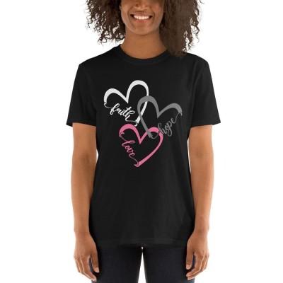 Faith Hope Love Heart Shirt Christian Tee Jesus Church T-Shirt