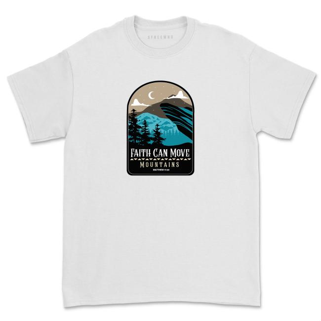 Faith Can Move Mountains Shirt Women Christian Bible Verse Faith T-shirt Retro Casual Top Tee