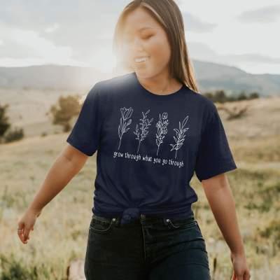Grow through what you go through Shirt Wildflower Vintage Sunflower Boho Tee Shirt
