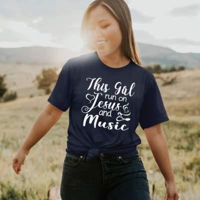 This Girl Runs On Jesus & Music T-Shirt Birthday Gift Music Lover Shirts