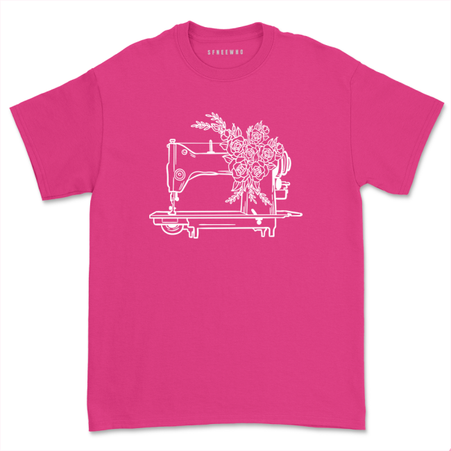 Floral Sewing Machine Gift Shirt Flower Sew Quilting T-shirt Casual Sewing Lover Short Sleeve Tee Tops