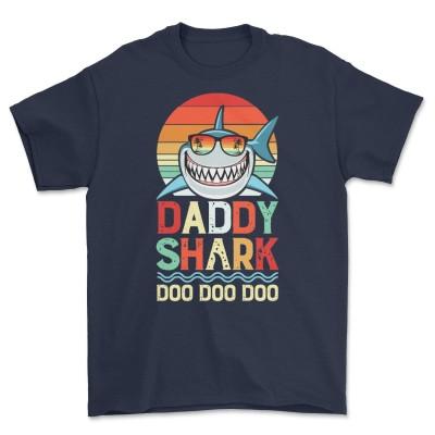 Men Daddy Shark Shirt Doo Doo Doo Vintage Retro T-Shirt Gift for Dad