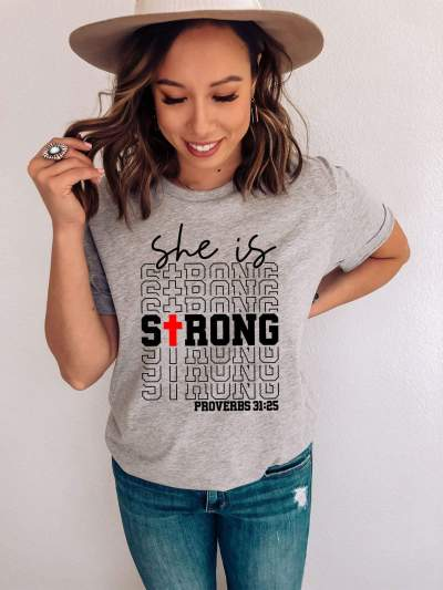 She Is Strong Proverbs Christian Shirt Religious Motivation Inspirational Tee