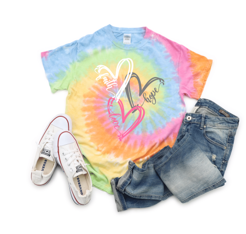 Tie Dye Faith Hope Love Heart T-Shirt