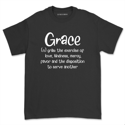 Grace definition Christian Shirt Women Religious Apparel Casual Loved Faith Jesus Short Sleeve Tops Tee
