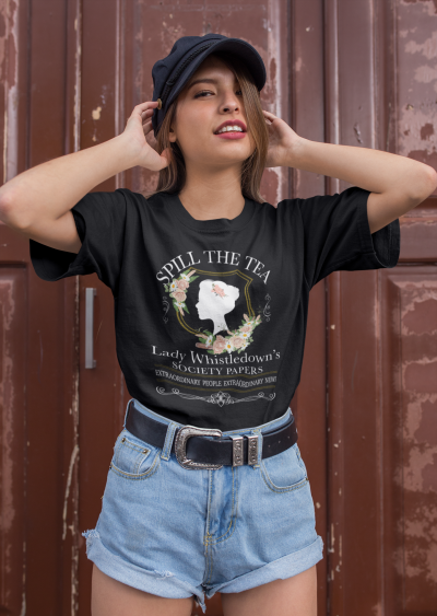 Funny Spill The Tea Society Papers Shirt Women Graphic Casual Short Sleeve Tee Tops