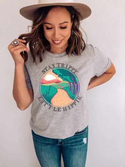 Stay Trippy Little Hippie Distressed Shirt Vintage Hippie T-Shirt