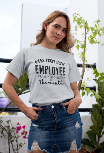 Work From Home Employee Of The Month Shirt Work Online Self Employed T-shirt Remote Work At Home 2021 Top Tee