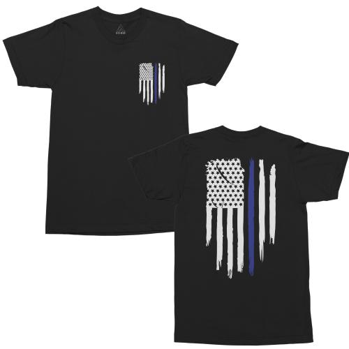 Thin Blue Line USA Flag Patriotic Police Support Unisex Men's T Shirt