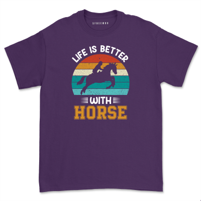Retro 80's Horse Riding Shirt Vintage Silhouette Equestrian Life is Better T-shirt Horse Lover Gift