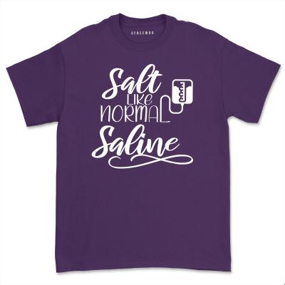 Salty Like Normal Saline Shirt Women Nurse Life T- shirt Comfy Nursing Student Tee Casual Short Sleeve tshirt Top