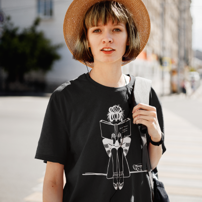 Girl with Coffee Book Lovers Gifts Book Shirt Cute Book Reader Shirts