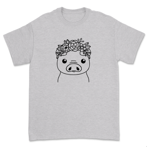 Casual Floral Crown Pig shirt Cute Farm Piggy T-shirt Pig Lover Gift Minimalist Flower Pig Mom life Short Sleeve Tops Tee
