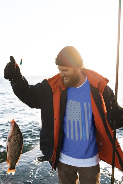Men Unisex American Flag Fishing Shirt Vintage Fishing Tshirt T-Shirt