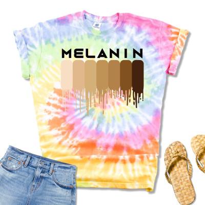Tie Dye Drippin Melanin Shirt for Women Pride Gifts Black History T-Shirt