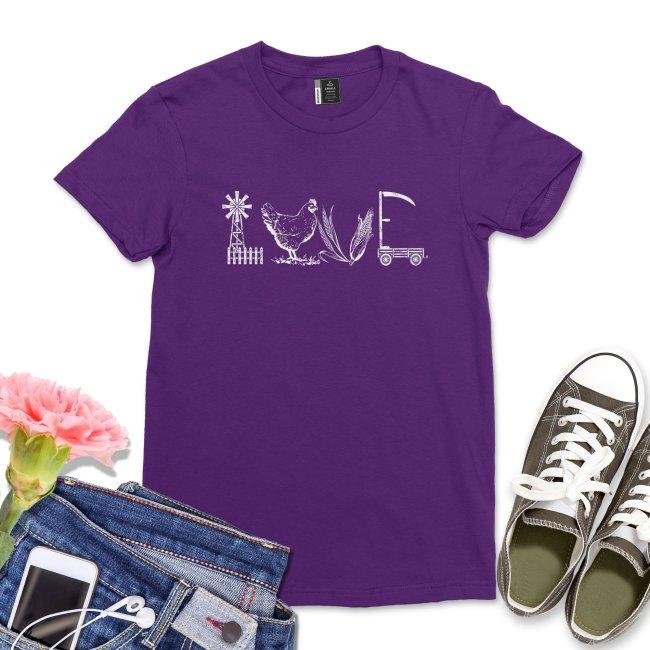 Love Farm Shirt Western Cowgirl tshirt Chicken Lady Whisperer Farm Life Tee Casual Chicken Mom T-shirt