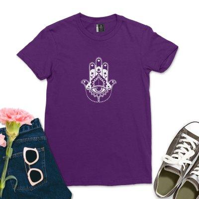 Vintage Lotus Flower Hamsa T-shirt Women Retro Yoga Gym Yogi Gift Tee Women Peace Love Equality Hamsa Hand Shirt