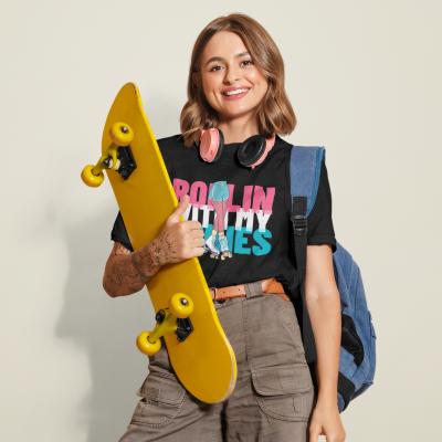 Rollin With My Homies Shirt Women Roller Skater Club T-Shirt Funny Girls Best Friends Rap Song Skating Tee