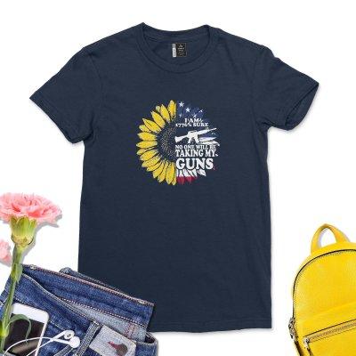 I am 1776% Sure No One Will Be Taking My Guns Shirt Women Sunflower America T-Shirt Funny USA Flag 1776 Tee