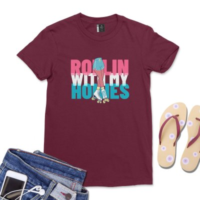 Rollin With My Homies Shirt Women Roller Skater Club T-Shirt Funny Girls Best Friends Rap Song Skating Tee