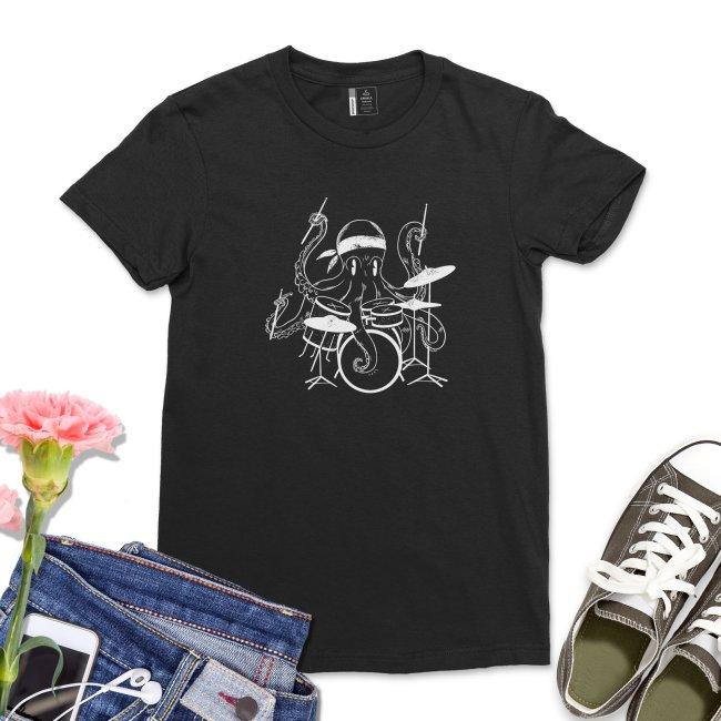 Octopus Playing Drums Shirt Women Musician Drummer Gift T-Shirt Short Sleeve Drumming Tee Funny Women Drum tshirt