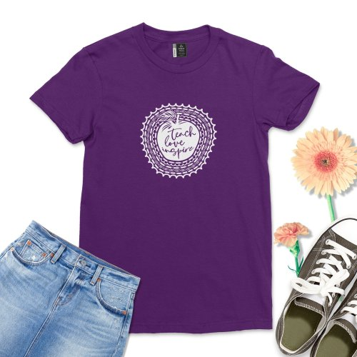 Teach Love Inspire shirt Women Back To School T-Shirt Casual Men Funny Grade Teacher Field Trip Tee Top