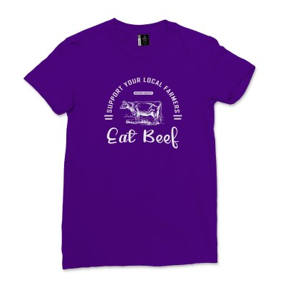 Womens Farm Tees Support Farms Shirt Short Sleeve Summer Vacation tShirt Support Your Local Farmers Eat Beef T-shirt