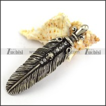 Skull Feather Charm with Clear Rhinestones p003950