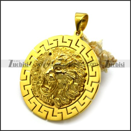 Golden Lion Head Medallion p006431
