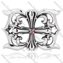 Simple Trendy Titanium Cross Buckle with Red Rhinestone for Unisex Wearing -JZ350011