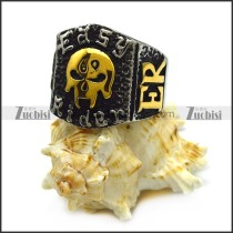 Vintage Easy Rider Ring with Golden 69 Skull r005460