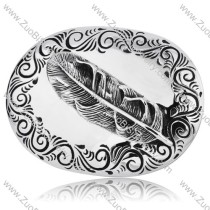 Welcomed Punk Titanium Buckle For Bikers with Embossed Feather -JZ350013