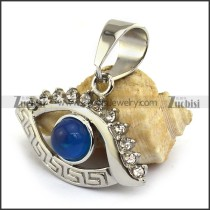 Stainless Steel Rhinestones Eye Pendant with Blue Ball p003308