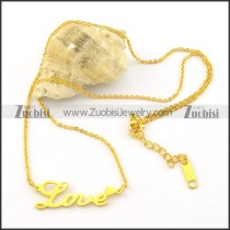 yellow gold plating LOVE charm necklaces n000469