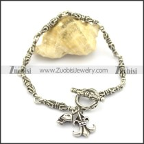 women bracelet with skull fleur de lis charms b002766